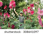 Cute Little Boy In The Flowers