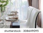 Table Set On Dark Brown Wooden...