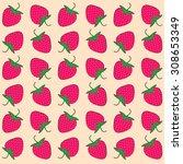strawberry pattern   Shutterstock .eps vector #308653349