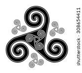 black and white celtic vector... | Shutterstock .eps vector #308654411