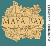maya bay  thailand beach hand... | Shutterstock .eps vector #308654855