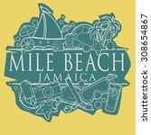mile beach  jamaica beach hand... | Shutterstock .eps vector #308654867