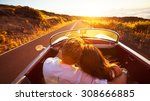 driving into the sunset.... | Shutterstock . vector #308666885