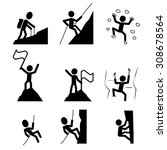 hiking and climbing icon. set... | Shutterstock .eps vector #308678564