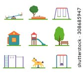kids playground set. icons with ... | Shutterstock .eps vector #308685947