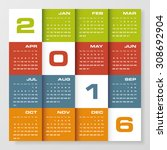 simple design calendar 2016... | Shutterstock .eps vector #308692904