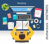 studying concept illustration.  ... | Shutterstock .eps vector #308708051