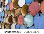 the photo of oil barrels... | Shutterstock . vector #308713871