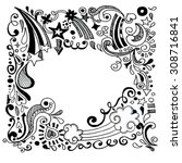 abstract hand drawn Doodle Design Elements black and white background ,Vector illustration.