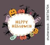 happy halloween vector card... | Shutterstock .eps vector #308736704