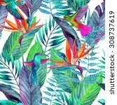 watercolor jungle seamless... | Shutterstock . vector #308737619