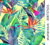 watercolor jungle seamless... | Shutterstock . vector #308737631