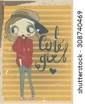 cute vintage girl | Shutterstock .eps vector #308740469