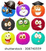 colorful fluffy balls with... | Shutterstock .eps vector #308740559