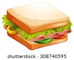 ham and vegetable sandwich... | Shutterstock .eps vector #308740595
