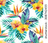 watercolor tropical leaves and... | Shutterstock . vector #308742455