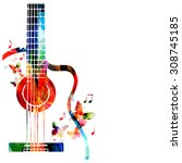 colorful music background with... | Shutterstock .eps vector #308745185