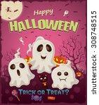 vintage halloween poster design ... | Shutterstock .eps vector #308748515