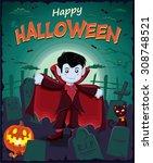 vintage halloween poster design ... | Shutterstock .eps vector #308748521