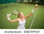 Woman In Tennis Practice