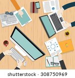 realistic workplace... | Shutterstock .eps vector #308750969