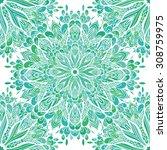 vector seamless ornamental lace ... | Shutterstock .eps vector #308759975