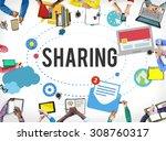 sharing global communication... | Shutterstock . vector #308760317
