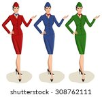 set of 3 stewardesses dressed... | Shutterstock .eps vector #308762111