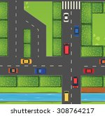 top view of street full of cars ... | Shutterstock .eps vector #308764217