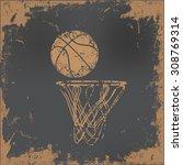 Basketball Design On Old Paper...