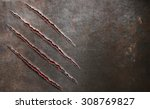 metal scratched by beast claw... | Shutterstock . vector #308769827