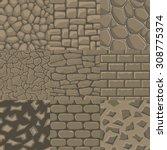 vector cartoon stone wall... | Shutterstock .eps vector #308775374