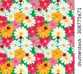 seamless pattern with chamomile ... | Shutterstock . vector #308775671