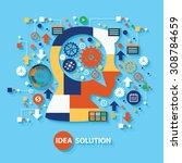 idea solution concept design on ... | Shutterstock .eps vector #308784659