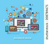 responsive concept design on... | Shutterstock .eps vector #308784671