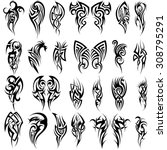 set of 24 tribal tattoos in... | Shutterstock .eps vector #308795291