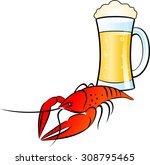 glass of  beer and crayfish on... | Shutterstock .eps vector #308795465
