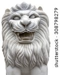 Lion Stone Isolated   Marble...
