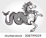 hand drawn vintage hippocampus... | Shutterstock .eps vector #308799029