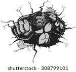 angry gorilla | Shutterstock .eps vector #308799101