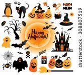 halloween icons set. vector... | Shutterstock .eps vector #308807519