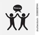 people with hands up and happy... | Shutterstock .eps vector #308808944