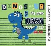 Постер, плакат: cute dinosaur on striped