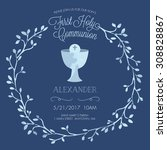 blue boy's first holy communion ... | Shutterstock .eps vector #308828867
