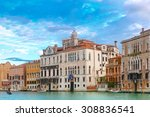 Palace in Venetian Gothic style on the Grand Canal in summer day, Venice, Italy.  - stock photo