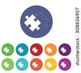 matching puzzle icons set  on...