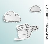 airplane flying in the clouds.... | Shutterstock .eps vector #308838515