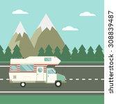 family traveler truck driving... | Shutterstock .eps vector #308839487