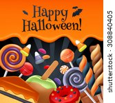 halloween sweets colorful party ... | Shutterstock .eps vector #308840405