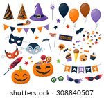 halloween party colorful icons... | Shutterstock .eps vector #308840507